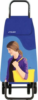 Сумка-тележка хозяйственная синяя с рисунком Rolser LOGIC DOS+2 PAC093azul/lois