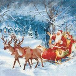 Салфетки для декупажа Новогодние сани, 33x33см, 3 слоя, 20шт Paper+Design 60642