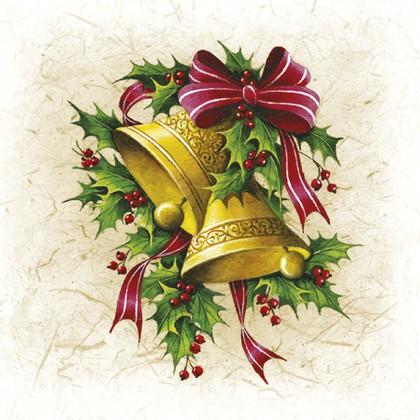 Салфетки коктейль Рождественские колокольчики 25x25см, 3 слоя, 20шт Paw SDC081400