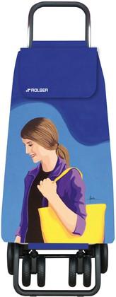 Сумка-тележка хозяйственная синяя с рисунком Rolser LOGIC TOUR PAC094azul/lois