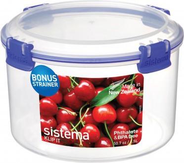 Контейнер для продуктов круглый 1,5л Sistema Klip It 1385