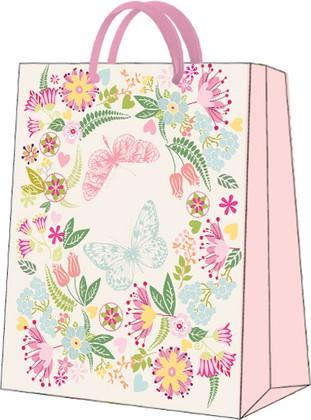 """Пакет подарочный """"Бабочки в цветах"""" 20x25x10см Paw AGB029003"""