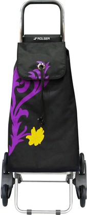 Сумка-тележка хозяйственная черная с рисунком ROLSER RD6 IMX009malva
