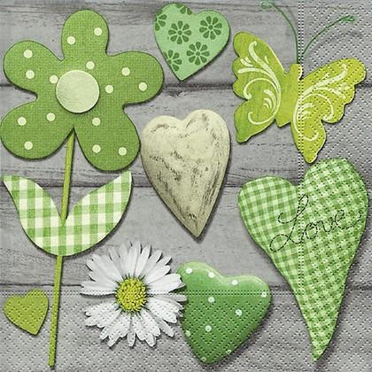 Салфетки для декупажа Зеленая коллекция, 33x33см, 3 слоя, 20шт Paper+Design 21672