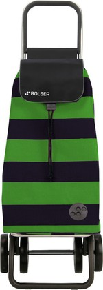 Сумка-тележка хозяйственная чёрно-зелёная Rolser LOGIC DOS+2 PAC009verde/negro
