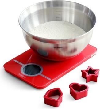 Набор из цифровых кухонных стеклянных красных весов 5кг/1г , стальной миски 1.6л и формочек для выпечки Brabantia 104701