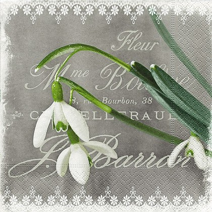 Салфетки для декупажа Первый цветок, 33x33см, 3 слоя, 20шт Paper+Design 21644