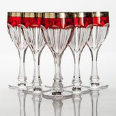 Набор бокалов для вина Сафари 6шт, 290мл, рубин-золото Crystalite Bohemia 1KC86K/0/432267/290