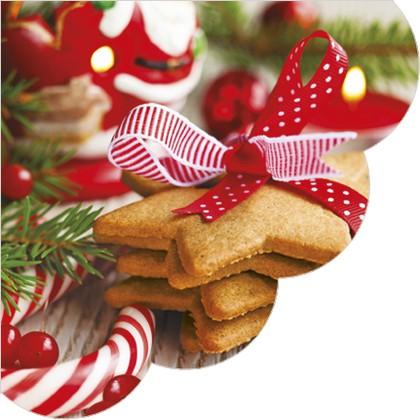 Салфетки круглые Новогодние сладости 32см, 3 слоя, 20шт Paw SDR081200