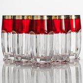 Набор стаканов для воды Сафари 300мл вода, рубин/золото, 6 шт Crystalite Bohemia 2KD67K/0/432267/300