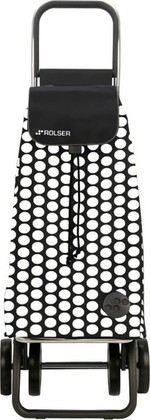 Сумка-тележка хозяйственная чёрная с белым Rolser DOS+2 MOU055blanco/negro