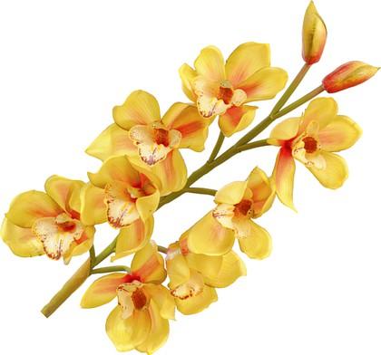 """Floralsilk Искусственные цветы """"Орхидея Цимбидиум"""", 8 цветков и 2 бутона, длина 87см, с эффектом живого прикосновения, артикул 11421GR"""