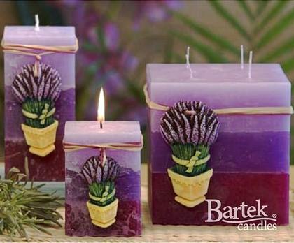 "Bartek Candles RUSTIC LAVENDER Свеча ""Лаванда"" - образ коллекции B, блок 70х70х140мм, артикул 5907602656015"