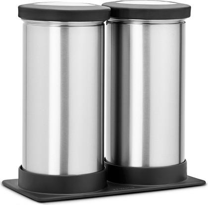 Набор контейнеров с прозрачной крышкой на подставке 0.7л матовая сталь Brabantia 415647