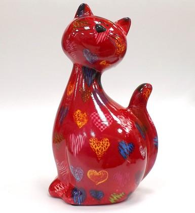 Копилка Кошка CARAMEL красная с сердечками Pomme-Pidou 148-00029/5