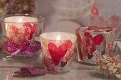 Свеча Сердца цветы, стакан Bartek Candles 5901685040587