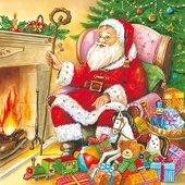 Салфетки для декупажа Санта у камина 33x33см, 3 слоя, 20шт Paw SDL071800