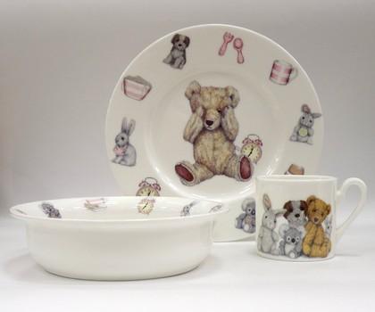 Набор детской посуды для девочки Время с Тедди, 3пр. Roy Kirkham XTEDPIN1393