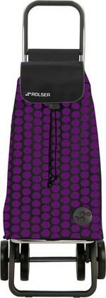 Сумка-тележка хозяйственная чёрная с фиолетовым Rolser DOS+2 MOU055lila/negro