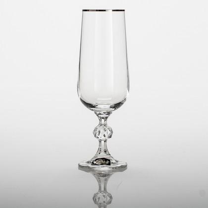 Фужеры для шампанского Клаудия 180мл, платин. полоска, 6 шт Crystalite Bohemia 40149/180/20732S
