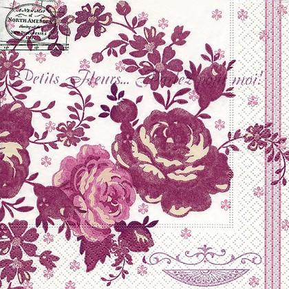 Салфетки для декупажа Розовый акцент, 33x33см, 3 слоя, 20шт Paper+Design 21777