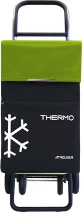 Термосумка-тележка хозяйственная чёрная с зелёным лаймом Rolser QUATTRE.2 THERMO TER039negro/lima