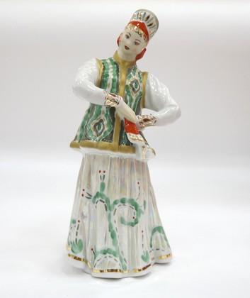 Скульптура Лебёдушка (зелёная), Дулёвский фарфор ДС2228