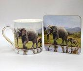 Кружка с подставкой Слоны The Leonardo Collection LP91559