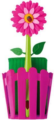 Щётка для посуды с губкой на подставке Vigar Flower Power 6479