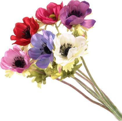 """Floralsilk Искусственные цветы """"Анемоны"""", микс, длина 34см, артикул 11009ASS"""