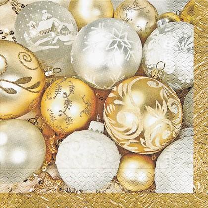 Салфетки для декупажа Новогодние шары, 33x33см, 3 слоя, 20шт Paper+Design 60689