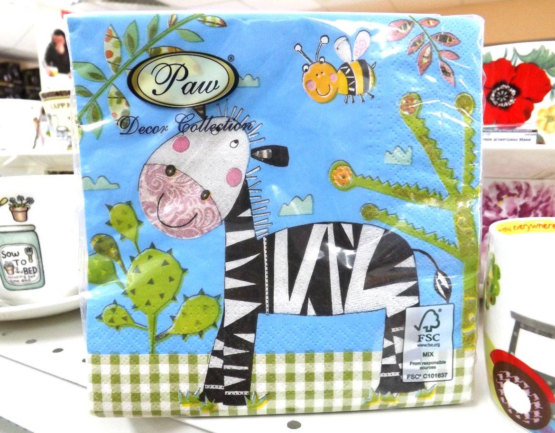 Бумажные декупажные салфетки со стилизованными изображениями зебры и других животных от Paw