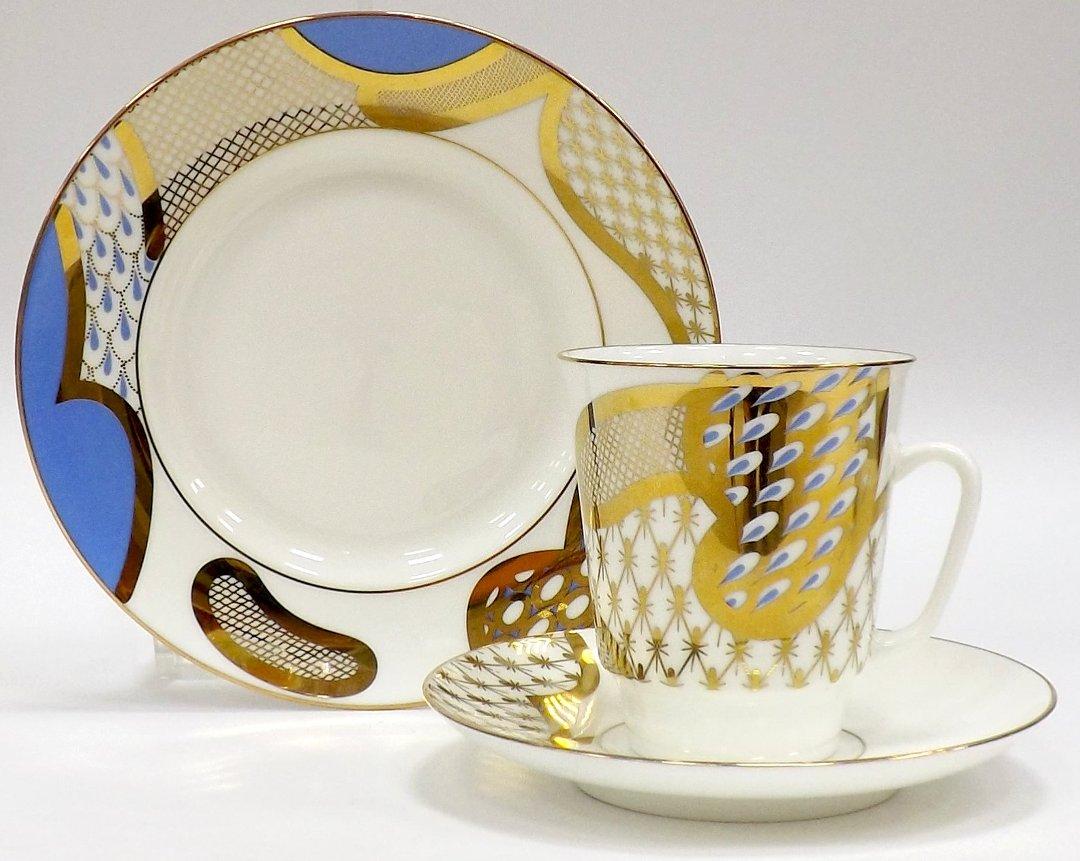 Кофейный набор из трёх предметов от ИФЗ, исполненный в форме Майская с изображениями на тему Лазурный мотив