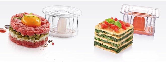 Иллюстрация результатов оформления тартара из говядины и омлета со шпинатом с помощью пресс-форм PRESTO Foodstyle из ассортимента новинок от Tescoma, представленных в мае 2015 года