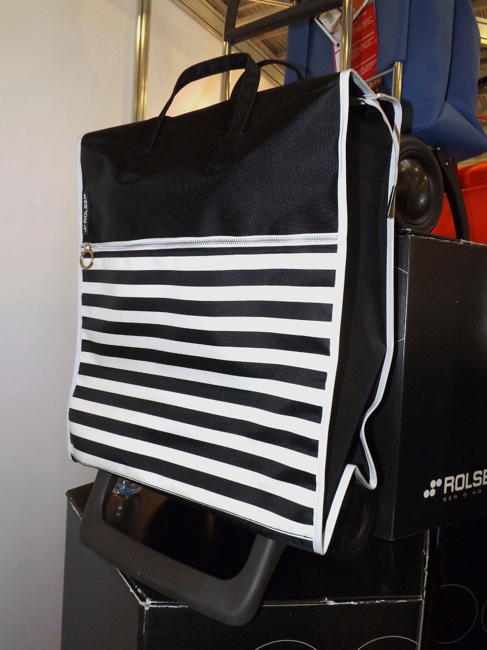 Чёрно-бело-полосатая сумка-тележка от Rolser на выставке HouseHoldExpo 2015