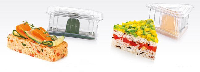 Иллюстрация результатов оформления кускуса и риса с овощами с помощью пресс-форм PRESTO Foodstyle из ассортимента новинок от Tescoma, представленных в мае 2015 года