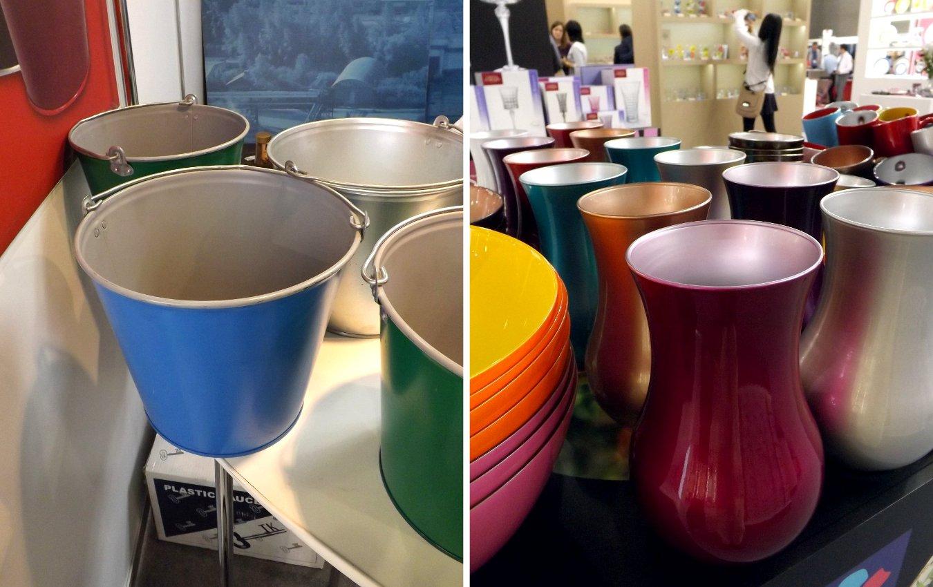 Вёдра и стеклянная посуда с разнотонным оформлением внутренней и внешней поверхностей на выставке HouseHoldExpo 2015 в сентябре