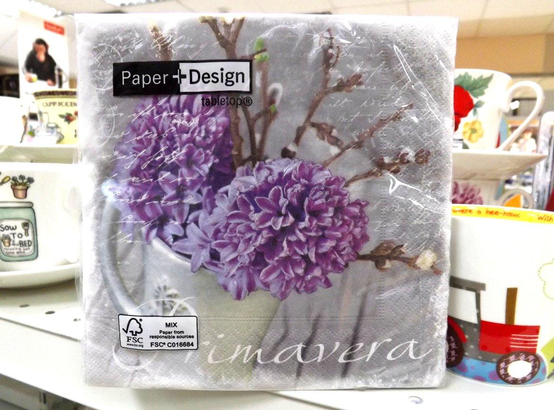 Бумажные декупажные салфетки с сиреневыми цветами от Paper+Design
