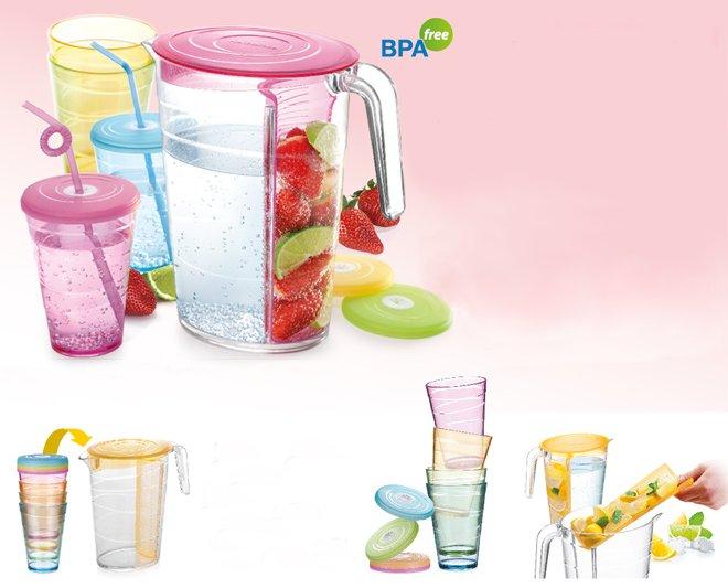 Кувшин и стаканы с крышками MyDRINK от Tescoma для приготовления и употребления напитков дома и на открытом воздухе, представленные в мае 2016 года