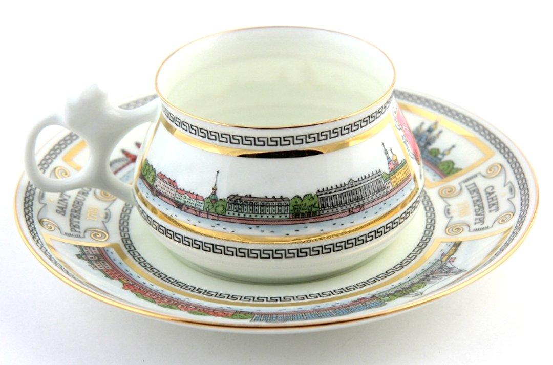 Чашка с блюдцем «Невские берега» — форма Билибина — от ИФЗ
