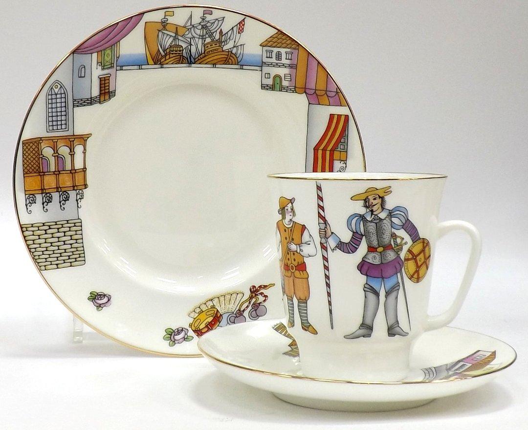 Кофейный набор из трёх предметов от ИФЗ, исполненный в форме Майская с изображениями на тему балета Дон Кихот