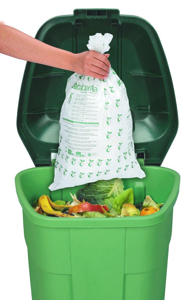 Иллюстрация к статье о компостировании с помощью быстроразлагаемых мешков от Brabantia: мешок и контейнер с пищевыми отходами