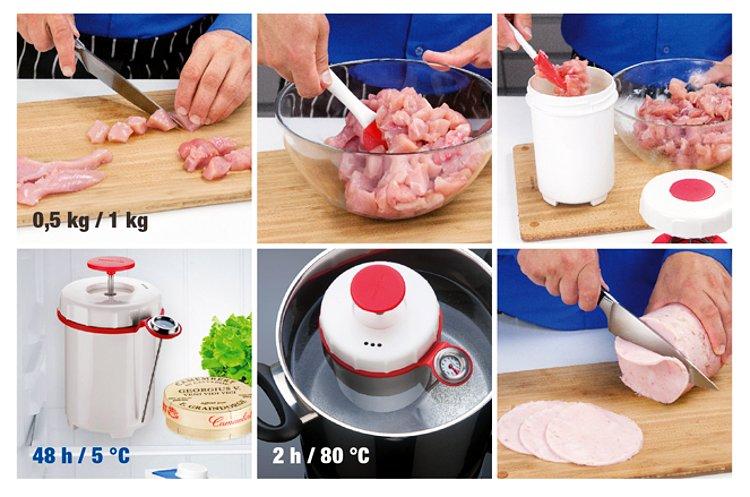 Ветчинница Tescoma PRESTO с термометром - иллюстрация стадий приготовления блюд