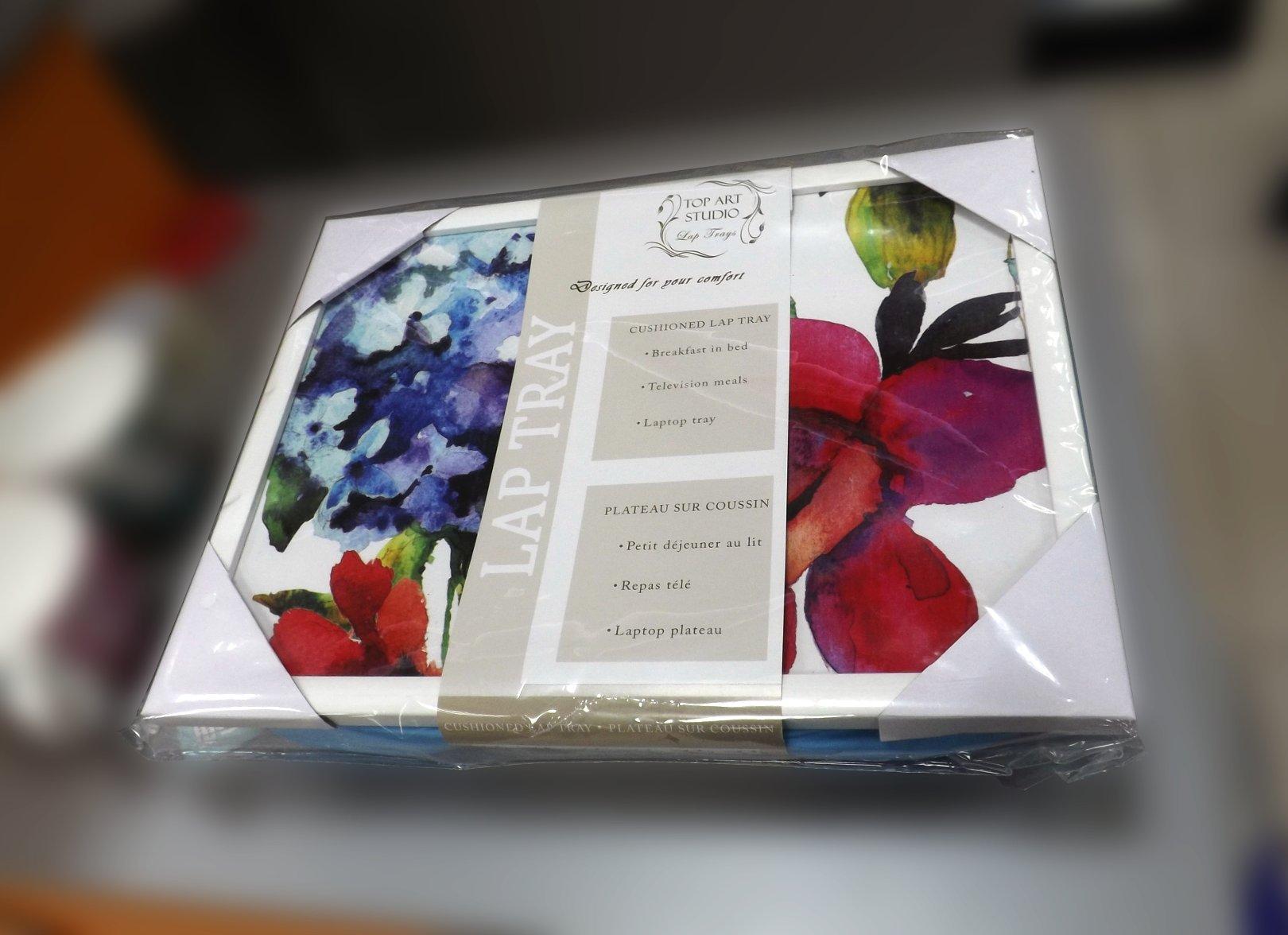 Поднос на подушке с художественным изображением цветов от Top Art Studio в упаковке