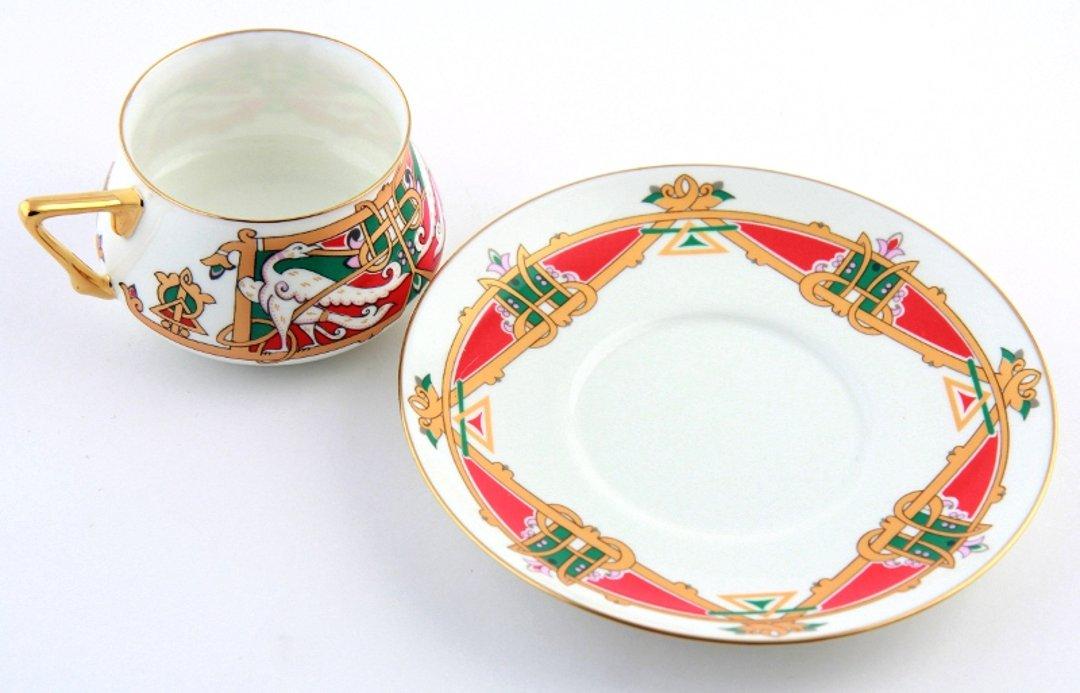 Чашка с блюдцем «Сказочные птицы» — форма Билибина 1 — от ИФЗ