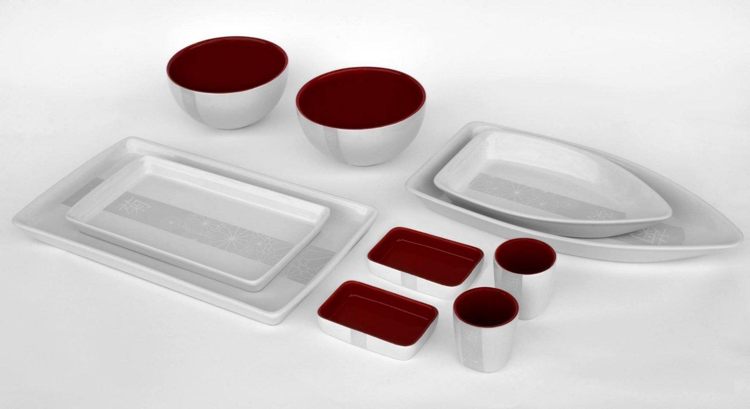 Новинки керамической посуды от Ceraflame 2014 года. Коллекция MATSURI - бело-красный вариант
