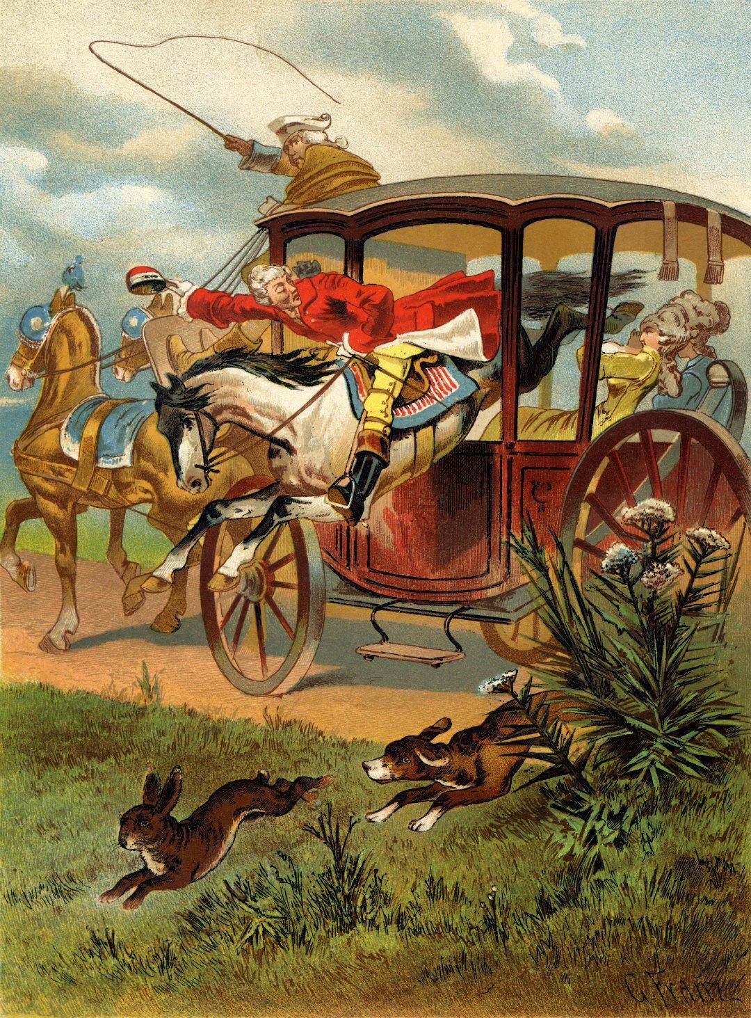 Иллюстрация с Мюнхгаузеном на коне, пролетающем через окна кареты, к книге Рудольфа Эриха Распе, созданная Готфридом Францем