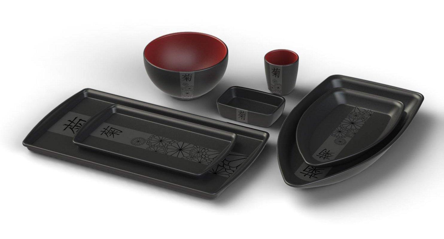 Новинки керамической посуды от Ceraflame 2014 года. Коллекция MATSURI - чёрно-красный вариант