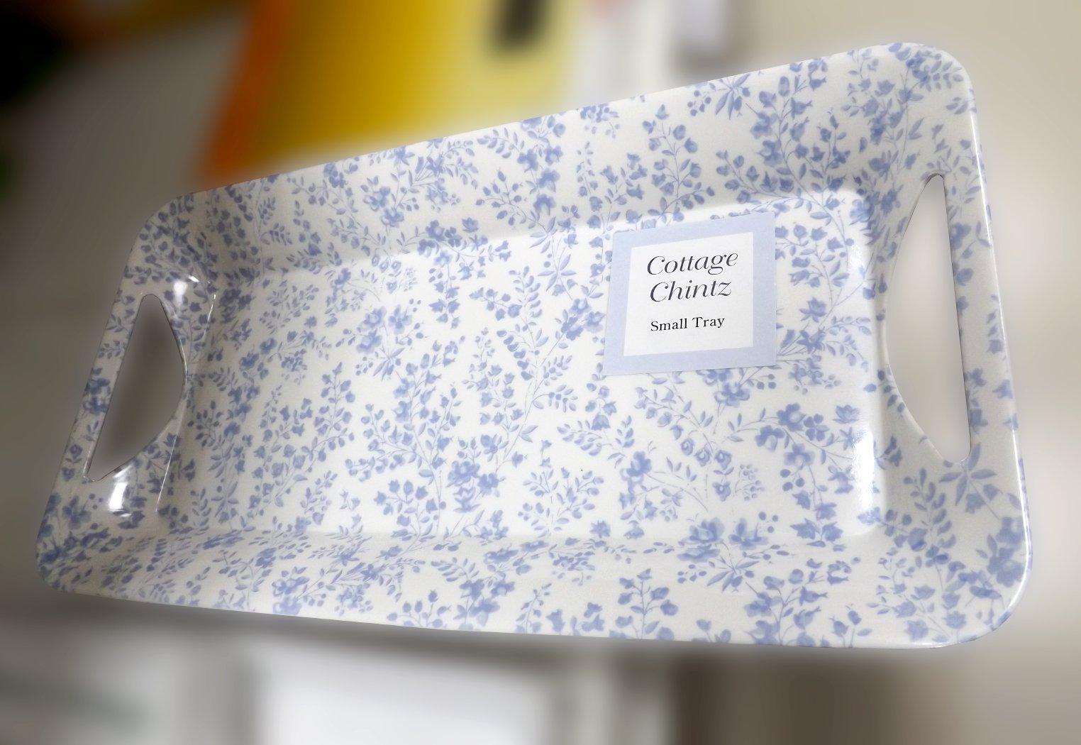 Поднос с растительным декором голубого оттенка на белом фоне из ассортимента магазина Посуда40.рф