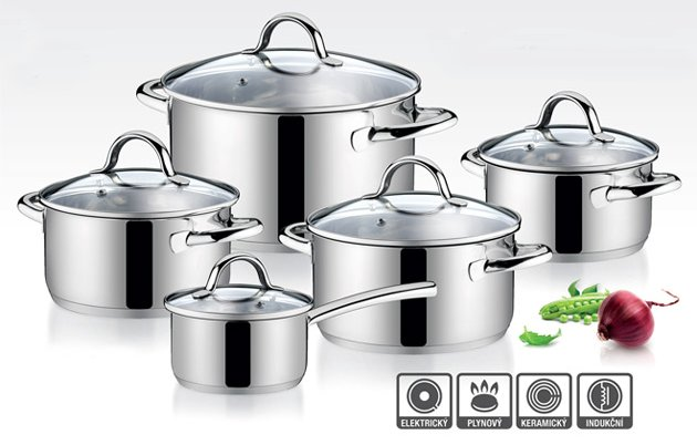 Набор кухонной посуды AMBITION от Tescoma с кастрюлями из нержавеющей стали и стеклянными крышками, представленный в октябре 2016 года